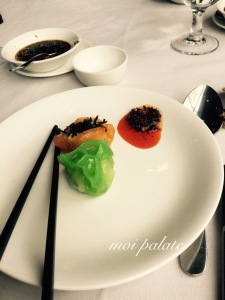 asparagus and seafood dumpling